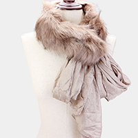 Open Wrap Faux Fur Collar Scarf