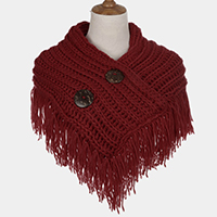 Knit Double Button Detail Tassel Fringe Scarf