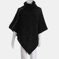 Pearl Detail Collar Neck Fluffy Cape Poncho
