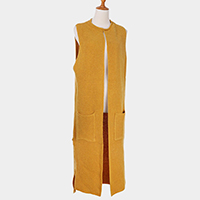 Pockets in Front Soft Knit Open Long Vest