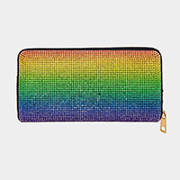 Colorful Rhinestone Pave Zipper Wallet