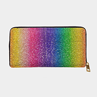 Colorful Crystal Rhinestone Pave Zipper Wallet