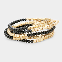 5PCS Multi Beaded Metal Cube Stretch Bracelets