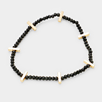 Metal Bar Accented Glass Bead Stretch Bracelet