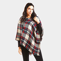 Plaid pattern V-neck poncho
