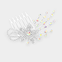 Crystal Flower Leaf Hair Comb