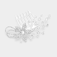 Rhinestone Pave Flower Accented Hair Comb