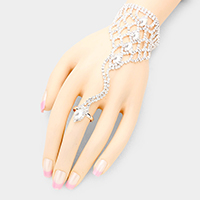 Oval Crystal Detail Net Hand Chain Evening Bracelet