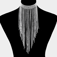 Rhinestone Fringe Bib Necklace
