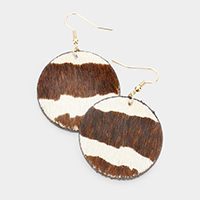 Genuine Leather Zebra Patterned Round Metal Earrings