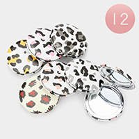 12PCS - Leopard Printed Round Compact Mirrors