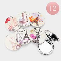 12PCS - Paris Themed Round Compact Mirrors