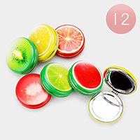 12PCS - Assorted Fruits Round Cushion Compact Mirrors