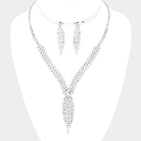 Crystal Rhinestone Pave Teardrop Accented Necklace