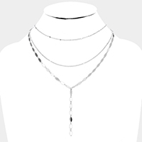 Multi Layered Drop Metal Chain Y Necklace