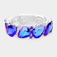 Marquise Crystal Teardrop Accented Cuff Evening Bracelet