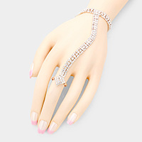 Square Crystal Detail Hand Chain Evening Bracelet