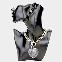 Crystal Heart Pendant Toggle Chain Necklace
