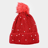 Pearl Detail Cable Knit Faux Fur Pom Pom Beanie Hat
