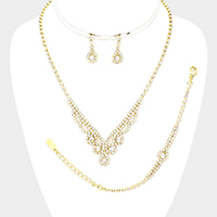 3PCS Rhinestone Pave Crystal V Necklace Set