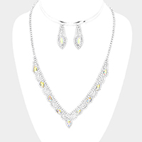 Rhinestone Pave Oval Crystal V Collar Necklace
