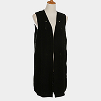 Vintage Knit Open Long Vest