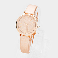 Glitter Round Dial Faux Leather Strap Watch