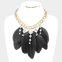 Crystal Feather Fringe Metal Chain Statement Necklace
