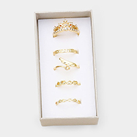 5PCS - Mixed Heart Crown Wing Crystal Metal Rings