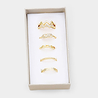 5PCS - Mixed Heart Round Crystal Metal Rings