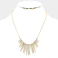 Abstract Oblong Disc Linked Metal Fringe Necklace