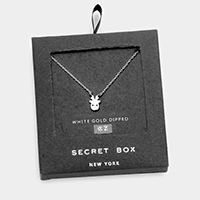 Secret Box _ 14K White Gold Dipped Reindeer CZ Necklace