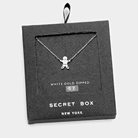 Secret Box _ 14K White Gold Dipped Gingerbread Man CZ Necklace