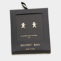 Secret Box _ 14K Gold Dipped Gingerbread Man CZ Earrings
