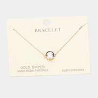 Gold Dipped Cubic Zirconia Round Charm Bracelet