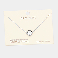 White Gold Dipped Cubic Zirconia Round Charm Bracelet