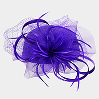 Satin Braid Pill Box with Mesh and Feather Net Fascinator