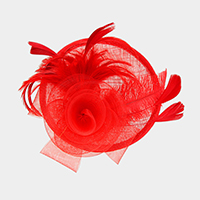 Flower Feather Sinamay Fascinator / Headband