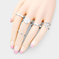 6 PCS Coin Metal Ring Set