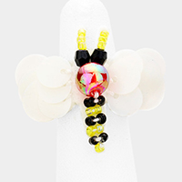 Sequin Bead Bee Stretch Ring