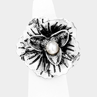 Metal Flower Pearl Stretchable Ring
