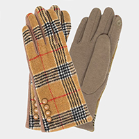 Button Detail Plaid Check Smart Touch Gloves