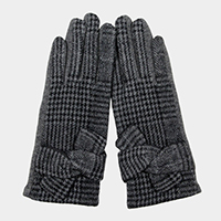 Knot Detail Plaid Check Smart Touch Gloves