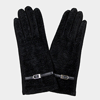 Thin Belt Detail Solid Smart Touch Gloves