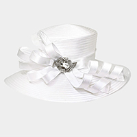 Large Satin Braid Hat with Stoned Bow