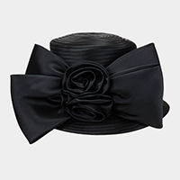Flower Bow Satin Braid Hat