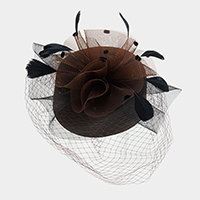 Mesh Veil Feather Braid Pill Box Hat