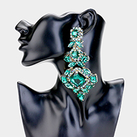 Oversized Multi Crystal Clip On Statement Earrings