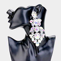 Oversized Teardrop Accented Crystal Rhinestone Clip On Earrings