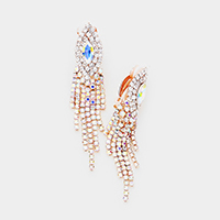 Rhinestone Crystal Oval Accented Fringe Clip on Earrings